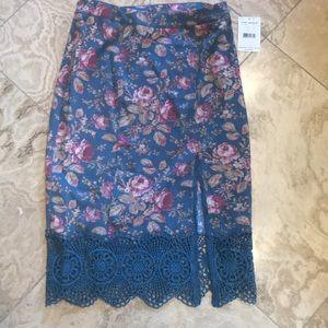 Free People Blue Rose Skirt
